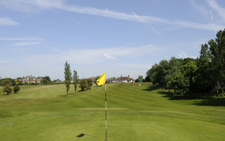 WBGC - 17TH HOLE -VIEW BACK FROM GREEN TO CLUBHOUSE WITH YELLOW FLAG 2