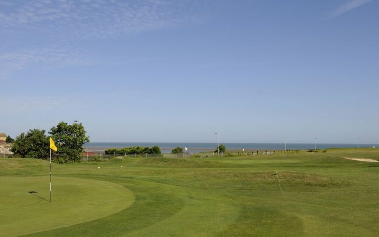 WBGC - 7TH HOLE - VIEW TO THE GREEN WITH FLAG OF 9TH GREEN BACKGROUND